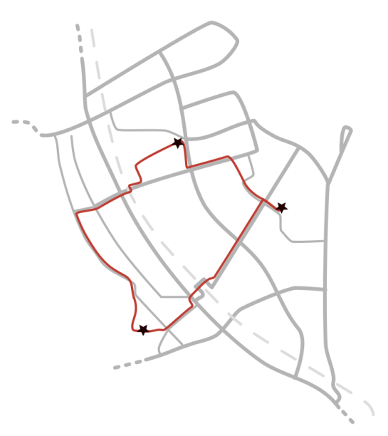 Everyday routes map - version grey&red