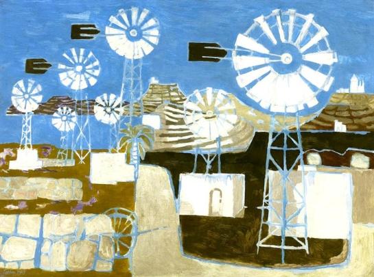 Mary Fedden - Windmills, Gozo, Malta