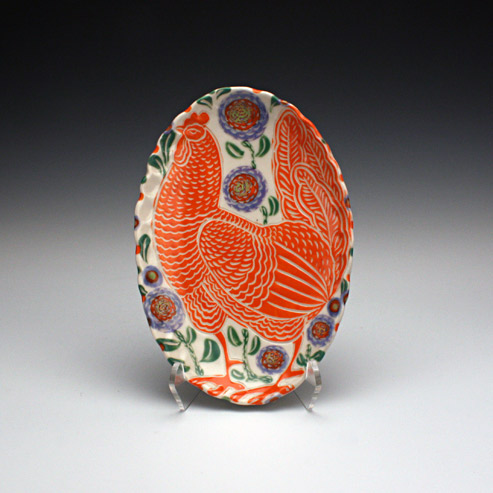 Sue Tirrell - butter dish with a hen