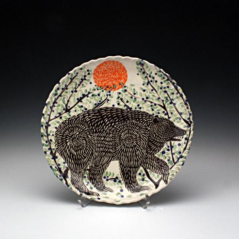 Sue Tirrell - dinner plate with a bear