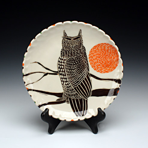 Sue Tirrell - lunch plate with an owl