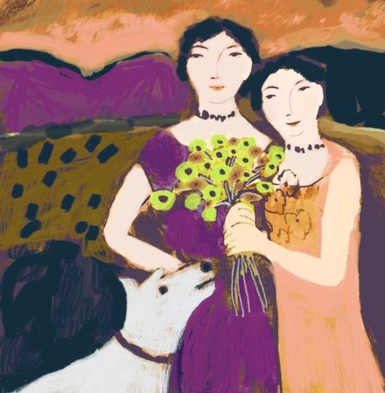 Barbara Perrine Chu - Two Women and White Dog