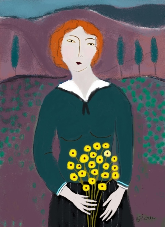 Barbara Perrine Chu - Woman with Yellow Flowers