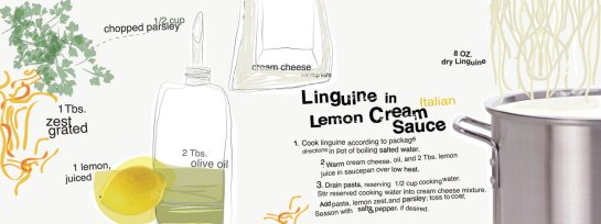 They Draw & Cook - Linguine in Lemon Cream Sauce by Nazanin Kani